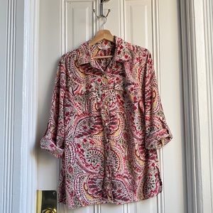 JM Collection Paisley Print Button Down Shirt